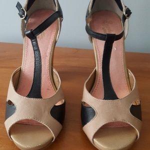 Seychelles T-Strap Two-Tone Leather Peep Toe Heels